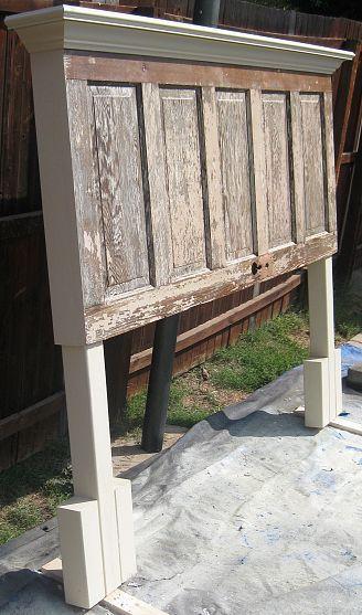 Van een oude deur een headbord maken...